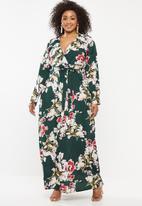 Missguided - Curve plunge floral maxi dress - multi