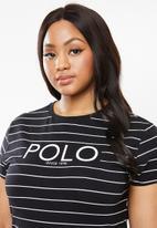 POLO - Plus size ariana printed stripe tee - black