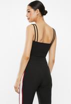 Missguided - Lace insert double strap bodysuit - black