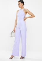 Missguided - Button side sleeveless wide leg jumpsuit - purple