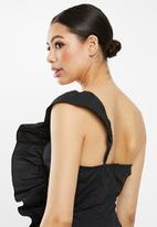 Missguided - Poplin ruffle a-line dress - black