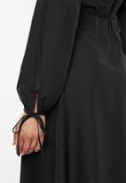 Missguided - Balloon sleeve wrap midi dress - black