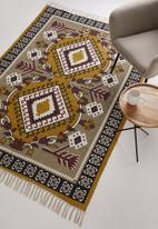 Sixth Floor - Munibah woven printed rug - pink & mustard