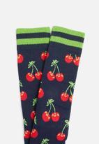 Happy Socks - Athletic cherry sock - navy