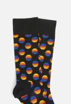 Happy Socks - Sunrise dot sock - black