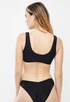 Cotton On - Knot front crop bikini top - black