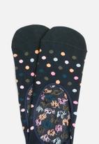Happy Socks - Dot liner sock - black