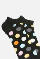 Happy Socks - Big dot low sock - black