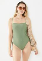 Cotton On - Straight neck gathered one piece  - green
