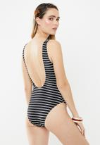 Cotton On - Henley one piece cheeky  - black & white