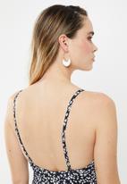Cotton On - Straight neck one piece cheeky  - black & white