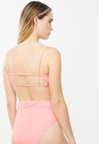Cotton On - Backless tube bikini top - fizz rib