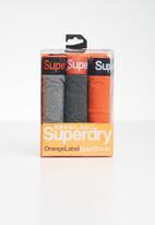 Superdry. - Orange label sport 3 pack trunks - orange & grey