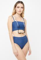 Cotton On - Longline bandeau bikini top  - blue