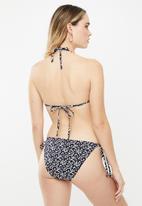 Cotton On - Tie side cheeky bikini bottom - black & white