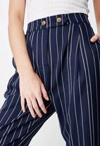 Cotton On - Ava tapered pant  - navy & white