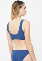 Cotton On - Knot front crop bikini top - blue