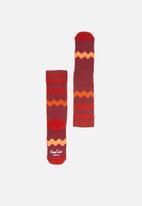 Happy Socks - Athletic zig stripe socks - red & orange