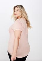Cotton On - Curve karly short sleeve tee  - pink