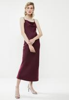 Superbalist - Cowl slip dress - burgundy