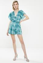 Superbalist - Wrap playsuit - green & blue