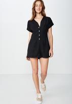 Cotton On - Woven dusk broiderie playsuit  - black