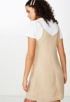 Cotton On - Woven maisy strappy mini dress  - beige