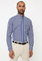Pringle of Scotland - Pelton long sleeve check shirt - blue & yellow