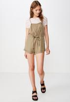 Cotton On - Woven val strappy playsuit  - green