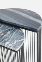 Sixth Floor - Half moon set of two tables - grey & black