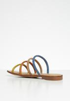Miss Black - Faux suede piping strap sandal - multi