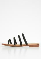 Miss Black - Faux suede piping strap sandal - black