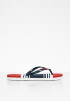POLO - Girls emma striped flip flops - navy & red