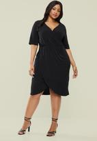 Superbalist - Mock wrap dress - black