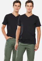Superbalist - Plain V-neck 2 pack tees - black