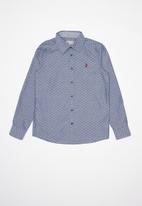 POLO - Boys keegan long sleeve textured shirt - navy