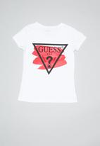 GUESS - Teens short sleeve Guess swish tri tee - white