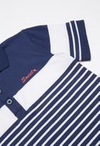 SOVIET - Boys y/dye golfer - navy & white