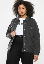 Missguided - Oversized washed denim jacket - black