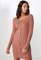 Cotton On - Henry long sleeve button through dress - multi