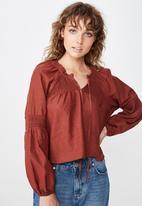Cotton On - Breanne blouson sleeve top - burgundy