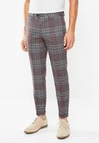 Jack & Jones - Brando check trouser - purple & grey