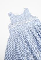 POP CANDY - Stripe dress embroidered detail - navy & white