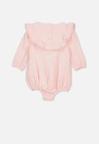 Cotton On - Phoebe long sleeve ruffle bubbysuit - pink