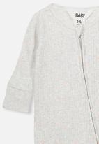 Cotton On - Newborn zip through romper - grey & peach