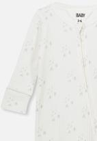 Cotton On - Newborn zip through romper - white & grey