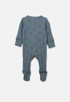 Cotton On - Newborn zip through romper - blue