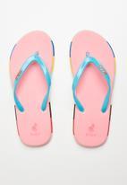 POLO - Girls Ashley multi flip flop - pink & blue