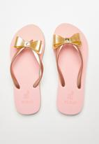POLO - Girls Jessica bow flip flop - gold & pink