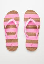 POLO - Girls Kayla cork striped flip flop - pink & brown
